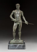 Sculpture, Kasper Konig (German, b. 1943). Nude Man with Sword. Bronze with brown patina. 21 inches (53.3 cm) high on a x 2-1/2 inc... (Total: 2 Items)