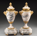 Decorative Arts, Continental:Other , A Pair of Napoleon III French Gilt Bronze and Marble Urns, 19thcentury . 17 x 7-1/2 x 5 inches (43.2 x 19.1 x 12.7 cm) (eac...(Total: 2 Items)