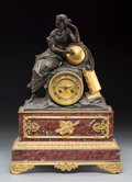 Decorative Arts, French:Other , A French Neoclassical Gilt and Patinated Bronze and Marble...