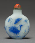 Asian:Chinese, A Chinese Blue and White Peking Glass Snuff Bottle with Lotus andCrane Motif, late Qing Dynasty. 2-3/8 inches high (6.0 cm)...