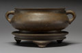 Asian:Chinese, A Chinese Bronze Censer with Stand, Qing Dynasty, 18th century.Marks: Four-character Xuande mark but of a later period... (Total:2 Items)