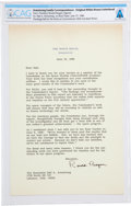 Explorers:Space Exploration, President Ronald Reagan: Typed Letter Signed on White House Stationery to Neil Armstrong Regarding His Rogers Commission Servi...