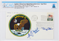 "Apollo 11 Flown Crew-Signed ""Type Three"" Quarantine Cover, Hand-numbered ""N-28"" and Certified by Nei..."