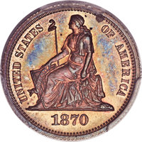 1870 10C Standard Silver Ten Cents, Judd-827, Pollock-917, Low R.7, PR66 Red and Brown PCGS Secure. CAC....(PCGS# 71071)