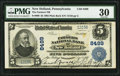 National Bank Notes, New Holland, PA - $5 1902 Plain Back Fr. 600 The Farmers NB Ch. # 8499. ...