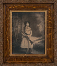 Annie Oakley: A Rare Large Signed Studio Photograph by Gray Photo of Boston