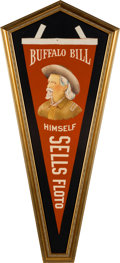 """Advertising:Signs, William F. """"Buffalo Bill"""" Cody and the Sells Floto Circus: Rare, Large, Felt Pennant in Virtually Mint Condition...."""