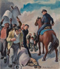 Fine Art - Painting, American, Daniel Ralph Celentano (American, 1902-1980). Protesters.Oil on canvas. 14 x 12 inches (35.6 x 30.5 cm). Signed lower r...