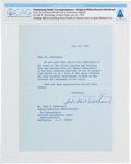 Explorers:Space Exploration, Tricia Nixon and Julia Nixon Eisenhower Typed Letter Dated July 23, 1970, Signed on White House Stationery to Neil Armstrong T...