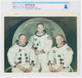 """Explorers:Space Exploration, Apollo 11: Original NASA """"Red Number"""" Color Photograph of the Prime Crew in their White Spacesuits Directly From The Armst..."""