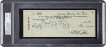 Baseball Collectibles:Others, 1935 Babe Ruth Twice Signed Check, PSA/DNA Mint 9. ...