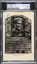 Baseball Collectibles:Others, 1953-55 Ty Cobb Signed Artvue Hall of Fame Plaque Postcard, PSA/DNA Authentic. ...