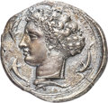 Ancients:Greek, Ancients: SICILY. Syracuse. Time of Dionysius I (406-367 BC). AR decadrachm (38mm, 40.97 gm, 12h). NGC (photo-certificate) Choice XF 4/5...