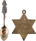 """Advertising:Small Novelties, Gordon """"Pawnee Bill"""" Lillie: Sterling Silver Souvenir Spoon,Together with Rare Early Colorado Territory Hotel Key Fob....(Total: 2 Items)"""