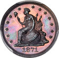 Patterns, 1871 10C Standard Silver Ten Cents, Judd-1081, Pollock-1217, R.7, PR65+ Red and Brown PCGS Secure....