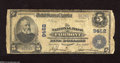 National Bank Notes:West Virginia, Fairmont, WV - $5 1902 Plain Back Fr. 600 The NB Ch. # 9462 Thiswell used note shows a little over 35 known. Good-Ve...