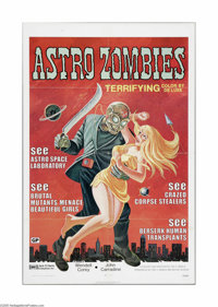 "Astro Zombies (Jack Harris Enterprises, R-1971). One Sheet (27"" X 41""). Offered here is folded, a vintage, the..."