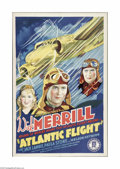 "Movie Posters:Adventure, Atlantic Flight (Monogram, 1937). One Sheet (27"" X 41""). Offeredhere is a folded, vintage, theater-used poster for this fly..."