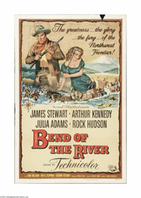"""Bend Of The River (Universal, 1952). One Sheet (27"""" X 41""""). Offered here is a folded, vintage, theater-used po..."""
