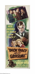 "Movie Posters:Crime, Dick Tracy Meets Gruesome (RKO, 1947). Insert (14"" X 36""). Offeredhere is a folded, vintage, theater-used poster for this m..."