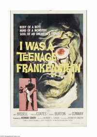 """I Was a Teenage Frankenstein (American International, 1957). One Sheet (27"""" X 41""""). Offered here is a folded..."""