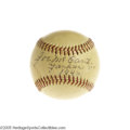 Autographs:Baseballs, 1946 Joe McCarthy Single Signed Baseball. The Hall of Fame managerwho called the shots for guys like Gehrig, Ruth and DiMa...
