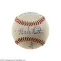 "Autographs:Baseballs, 1940's Babe Ruth Signed Baseball. ""Exceptional"" does not begin todescribe the quality of the autograph resting between the..."