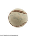 Autographs:Baseballs, 1958 Tris Speaker Single Signed Baseball. Dating from the final year of his life, this OAL (Harridge) ball represents a sin...