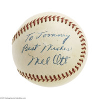 1958 Spectacular Mel Ott Single Signed Baseball, PSA NM-MT 8. Of all the milestones of immortality that dot the baseball...