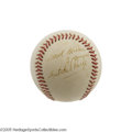 "Autographs:Baseballs, 1970's Satchel Paige Single Signed Baseball. ""I ain't ever had ajob,"" the Hall of Fame pitcher once claimed, ""I just alway..."