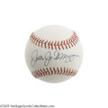 "Autographs:Baseballs, ""Joltin Joe DiMaggio"" Single Signed Baseball. ""He startedbaseball's famous streak/ That's got us all aglow/ He's just ama..."