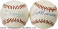 Autographs:Baseballs, Ted Williams & Joe DiMaggio Single Signed Baseballs. In 1941, these two American League superstars set batting marks that h... (2 items)