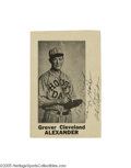 Autographs:Photos, Early 1930's Grover Cleveland Alexander Signed House of David Exhibit Card. He lived one of the hardest lives in baseball l...