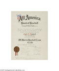 Autographs:Others, 1936 Carl Hubbell All America Baseball Team Certificate Signed byBabe Ruth. With so many reasons to love this amazing arti...