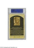 Autographs:Post Cards, Mid-1960's Jimmie Foxx Signed Gold Hall of Fame Plaque, Slabbed byPSA. In one of the rare instances in which the signed go...
