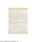 Autographs:Letters, 1965 Carl Mays Handwritten Questionnaire. Best remembered as theman who delivered the fatal blow to Ray Chapman's skull wh...