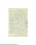 Autographs:Letters, 1965 Tom Zachary Handwritten Letter re: Ruth's 60th Home Run of 1927. Though he was one of the finest American League pitch...