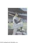 Autographs:Others, Mickey Mantle Signed Lithograph. Masterfully rendered image of the great Mick as he poses on the dugout steps during one of...