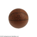 Basketball Collectibles:Balls, 1956 Olympic Basketball Gold Medal Game Ball, Signed by Entire U.S.A. Team including Russell. The 1956 United States Men's O...
