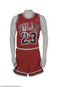 Basketball Collectibles:Uniforms, 1987-88 Michael Jordan Game Worn Uniform. The 1987-1988 season wasa defining one for Michael Jordan. His first three year...