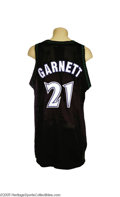 Basketball Collectibles:Uniforms, 1997-98 Kevin Garnett Game Worn Jersey. The N.B.A.'s reigning MostValuable Player put strong wear into this black mesh jer...