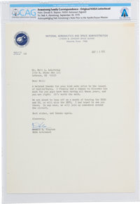 Deke Slayton Typed Letter Signed to Neil Armstrong Regarding the Thrill of Spaceflight Directly From The Armstrong