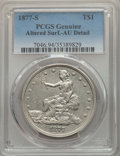 Trade Dollars, 1877-S T$1 -- Altered Surfaces -- PCGS Genuine. AU Details. NGC Census: (49/1205). PCGS Population: (165/1644). AU50. Minta...