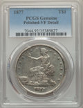 Trade Dollars, 1877 T$1 -- Polished -- PCGS Genuine. VF Details. NGC Census: (10/660). PCGS Population: (20/931). CDN: $165 Whsle. Bid for...