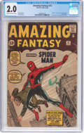 Silver Age (1956-1969):Superhero, Amazing Fantasy #15 (Marvel, 1962) CGC GD 2.0 Cream to off-whitepages....