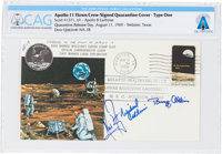 "Apollo 11 Flown Crew-Signed ""Type One"" Quarantine Cover, Hand-numbered N-18 and Certified by Neil Armstrong, D..."