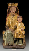 Other, A Spanish Colonial Carved, Polychromed, and Giltwood Madonna and Child Sculpture, early 19th century . 27-1/2 x 15-3/4 x 11-...