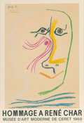 Prints & Multiples, After Pablo Picasso (Spanish, 1881-1973). Hommage a René Char, exhibition poster, 1969. Offset lithograph in colors on p...