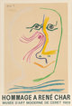 After Pablo Picasso (Spanish, 1881-1973) Hommage a René Char, exhibition poster, 1969 Offset lithograph in colors...