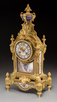 A French Gilt Bronze and Porcelain Table Clock, circa 1875 Marks to movement: 2090 64 20-1/2 h x 9-3